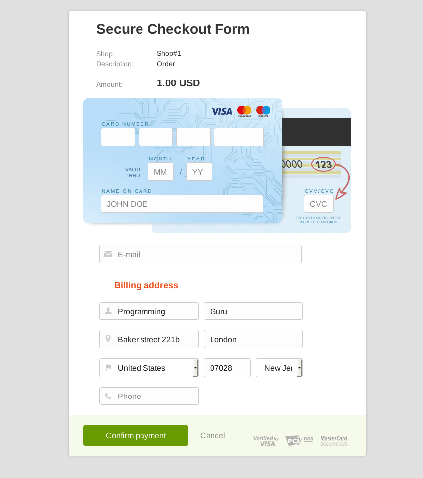 Secure Checkout Form