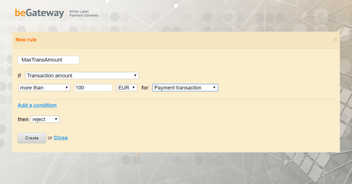 limit on the amount of an individual transaction
